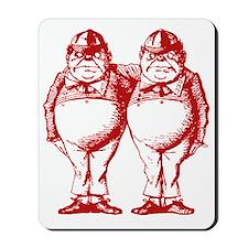 Tweedle Dee and Tweedle Dum Red Mousepad