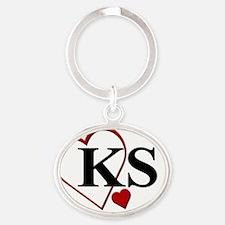 KS Kansas Heart. Oval Keychain