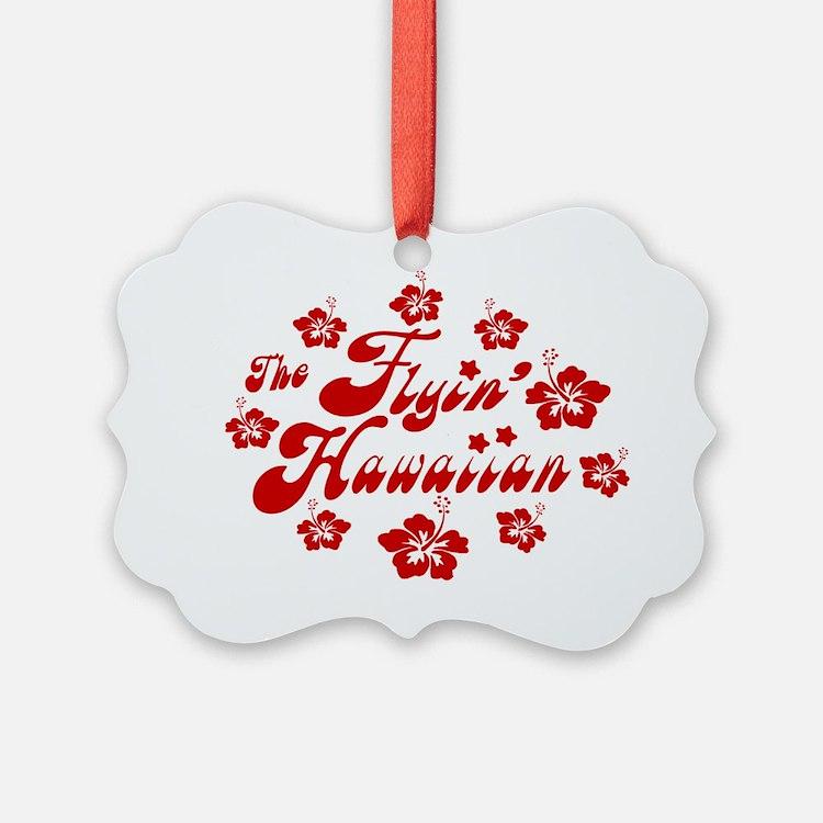2010 FH Hibiscus Red Wht Strk Ornament