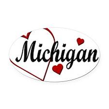 Love Michigan Hearts Oval Car Magnet