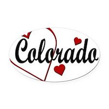 Love Colorado Hearts Oval Car Magnet