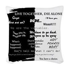 best lines lost text only Woven Throw Pillow