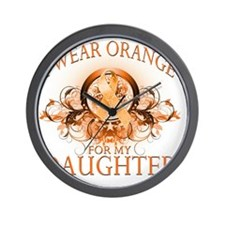 I Wear Orange for my Daughter (floral) Wall Clock