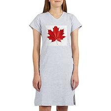 red maple leaf t-shirt Women's Nightshirt