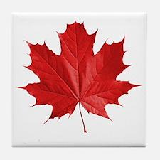 red maple leaf t-shirt Tile Coaster