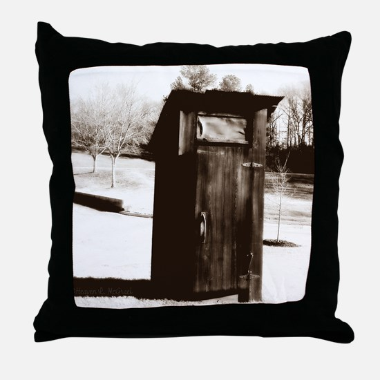 outhouse-watermarked Throw Pillow