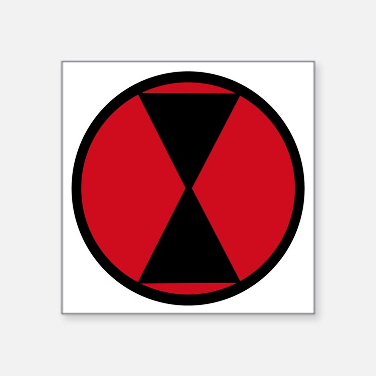 """7th Infantry Division Square Sticker 3"""" x 3"""""""