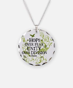 obama_vine_hope_division_whi Necklace
