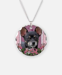 PinkTulips_Chihuahua_Mousepa Necklace Circle Charm