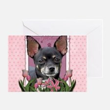 PinkTulips_Chihuahua_Mousepad Greeting Card