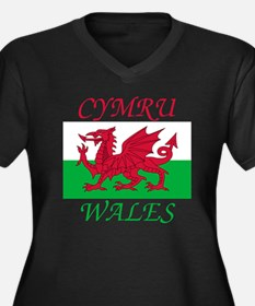 Wales-Cymru Women's Plus Size Dark V-Neck T-Shirt