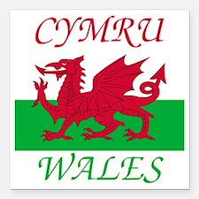 "Wales-Cymru Square Car Magnet 3"" x 3"""