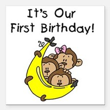 """MONKEYTRIP1STBDAY Square Car Magnet 3"""" x 3"""""""