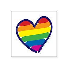 "Rainbow Back copy Square Sticker 3"" x 3"""