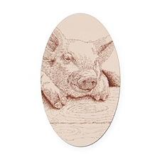 Pig_KlineSq Oval Car Magnet