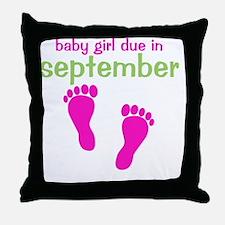 pinkfeet_babygirlduein_september_gree Throw Pillow