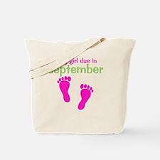 pinkfeet_babygirlduein_september_green Tote Bag