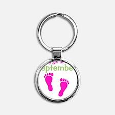 pinkfeet_babygirlduein_september_gr Round Keychain