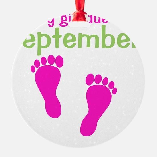 pinkfeet_babygirlduein_september_gr Ornament