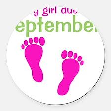 pinkfeet_babygirlduein_september_ Round Car Magnet
