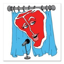 """Meat Curtains Square Car Magnet 3"""" x 3"""""""