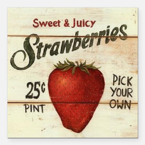 """strawberries-posters Square Car Magnet 3"""" x 3"""""""