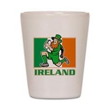 Irish leprechaun rugby player Ireland f Shot Glass