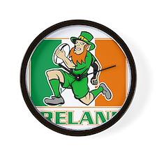 Irish leprechaun rugby player Ireland f Wall Clock