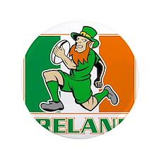 """Irish leprechaun rugby player Ireland  3.5"""" Button"""