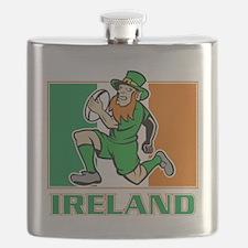 Irish leprechaun rugby player Ireland flag Flask