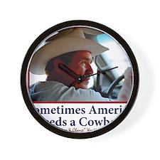 BUSH-HAT.-white-Cowboy-eps Wall Clock