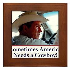 BUSH-HAT.-white-Cowboy-eps Framed Tile