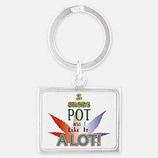 I smoke pot Landscape Keychain