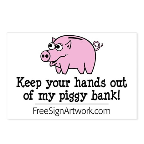 tshirts-freesignart-piggy Postcards (Package of 8)