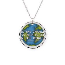 gandhi_earth_bethechange_dar Necklace