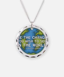 gandhi_earth_bethechange_dar Necklace Circle Charm