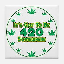 420 clock face2 Tile Coaster