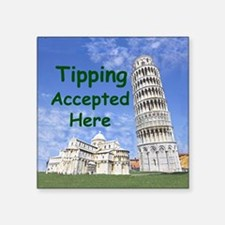 """tipping_accepted_here_zazzl Square Sticker 3"""" x 3"""""""