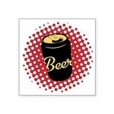 "Retro Beer Square Sticker 3"" x 3"""