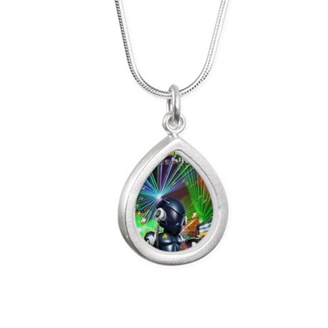 Cosmic1 Silver Teardrop Necklace