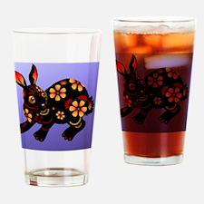 YearoftherabbitinblackInsideCard Drinking Glass