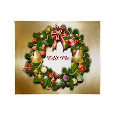 Xmas Wreath Throw Blanket