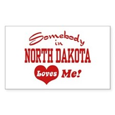 Somebody in North Dakota Rectangle Decal