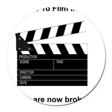 Film Making Broke Black Round Car Magnet