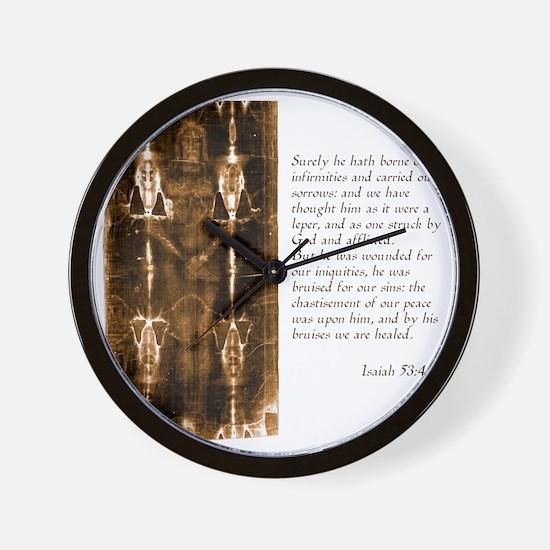 Isaiah 53-4-5 Wall Clock