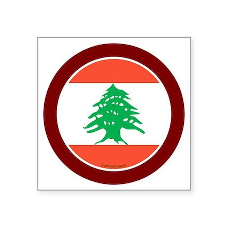 "btn-flag-lebanon Square Sticker 3"" x 3"""