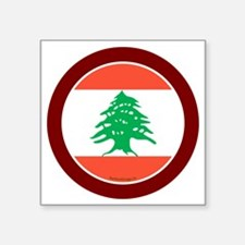"btn-flag-lebanon Square Sticker 3"" x 3"""