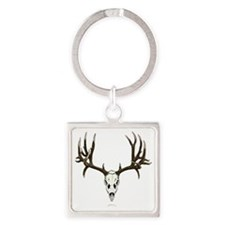 Mule deer skull mnt. Square Keychain