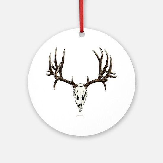 Mule deer skull mnt. Round Ornament