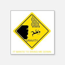 "Gravity-Yellow Square Sticker 3"" x 3"""